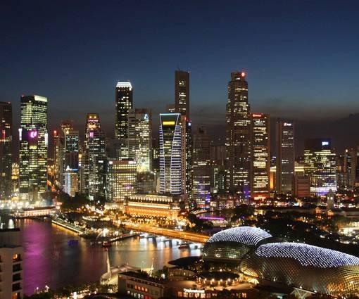 Фотообои Ночной Сингапур (ID 1098)