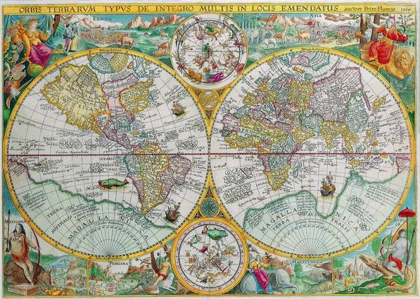 Antique Maps of the WorldDouble Hemisphere MapPetrus Planciusc 1599