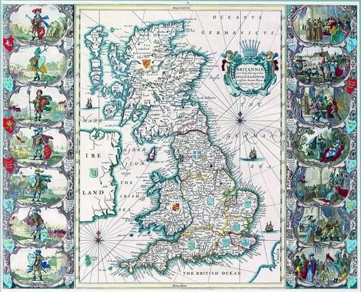 Antique Maps of the WorldMap of British IslesJohn Speedc 1676