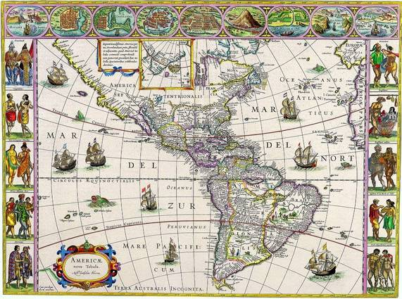 Antique Maps of the WorldThe AmericasWillem Blaeuc 1650