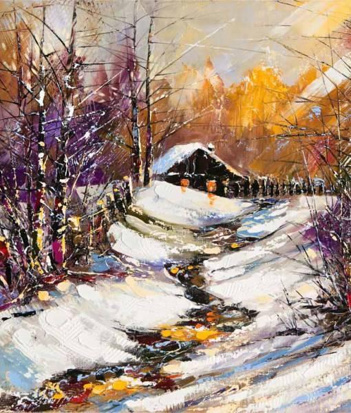 Фотообои Домик в лесу зимой (ID 797)