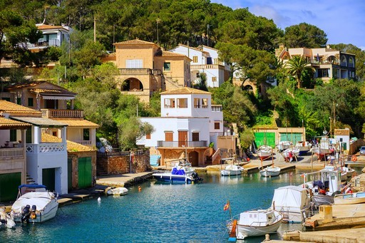 Little fishermen town on Mallorca island in Mediterranean sea, S