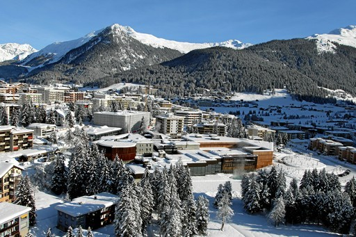 Aerial view of the congress center of Davos, where the World Economic Forum Annual Meeting 2012 takes place