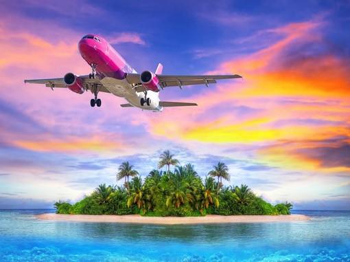 Фотообои Самолет и тропический остров (ID 3508)