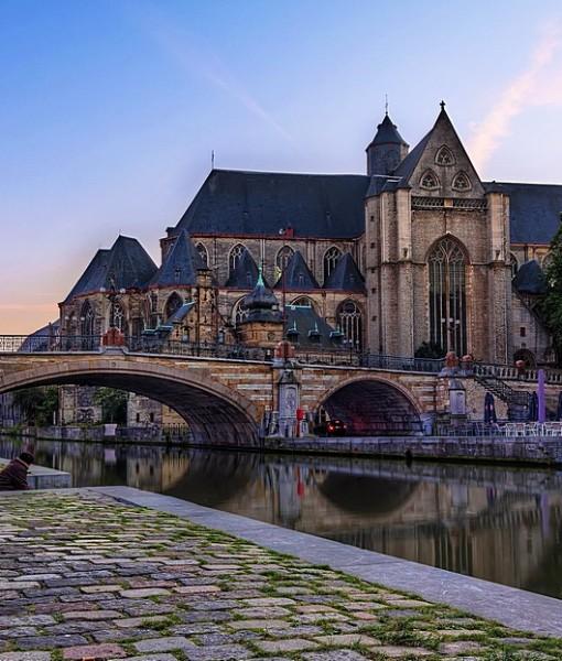 Фотообои Мост через городскую реку (ID 8204)