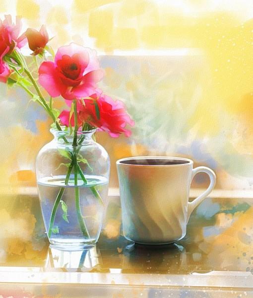 Фотообои Букет роз и чашка (ID 15424)