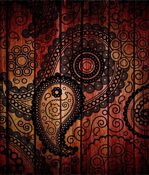 Фотообои Этнический узор на текстуре дерева (ID 16120)