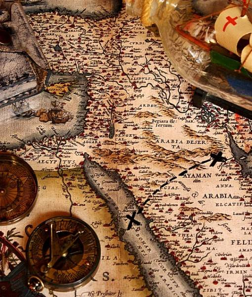 Фотообои Карта и фигурка корабля (ID 16535)