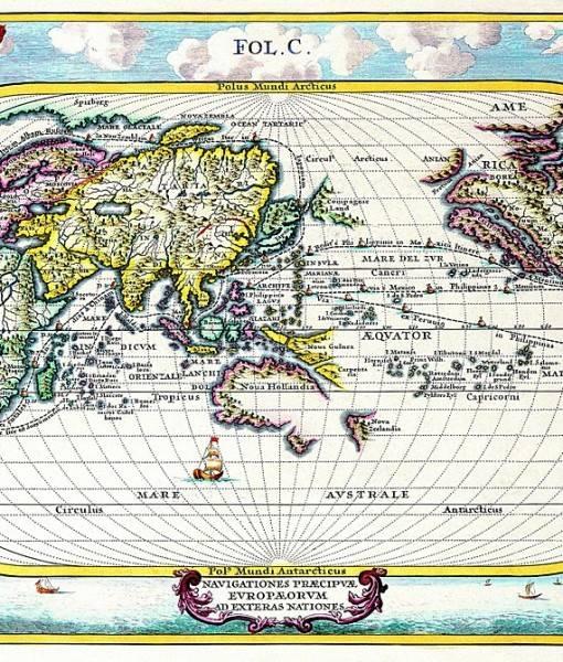 Фотообои Старинная цветная карта (ID 16543)
