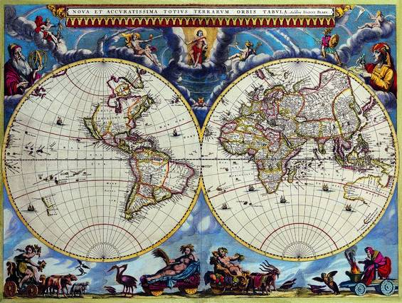 Antique Maps of the WorldDouble Hemisphere MapJoan Blaeuc 1662