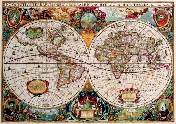 Antique Maps of the WorldDouble Hemisphere MapHenricus Hondiusc 1630