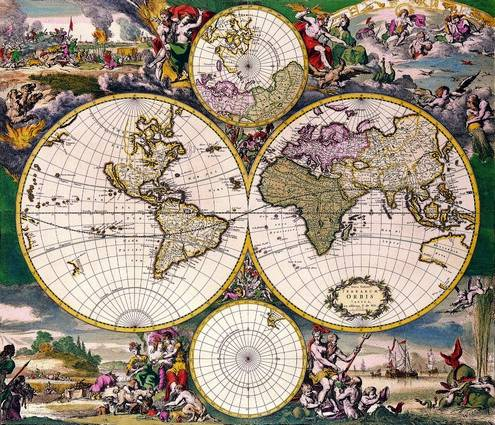 Antique Maps of the WorldDouble Hemisphere Polar MapFrederick De Witc 1668