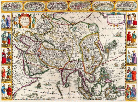 Antique Maps of the WorldMap of AsiaJan Janssonc 1632