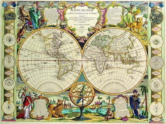 Antique Maps of the WorldDouble Hemisphere MapJean Baptiste Nolinc 1755