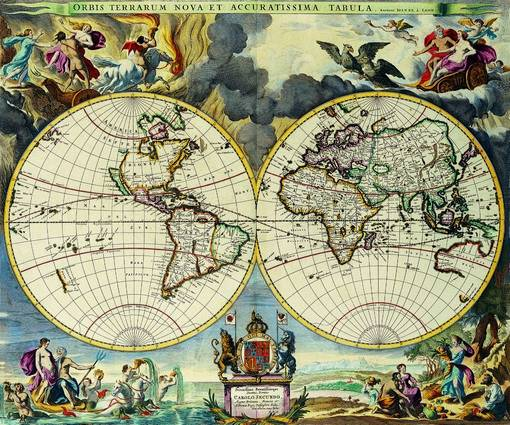 Antique Maps of the WorldDouble Hemisphere MapMoses Pittc 1680