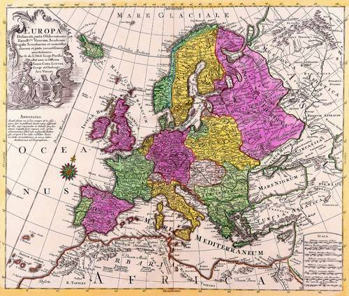 Antique Maps of the WorldMap of EuropeConrad Lotterc 1760