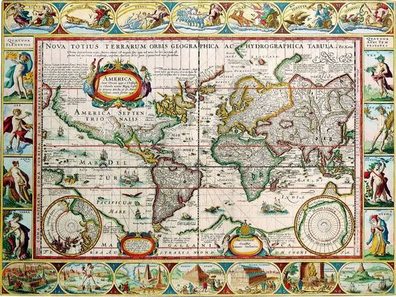 Antique Maps of the WorldThe AmericasPieter Van Den Keerec 1628