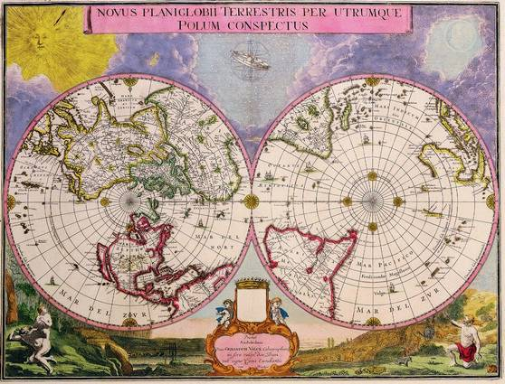 Antique Maps of the WorldDouble Hemisphere Polar MapJoan Blaeuc 1695