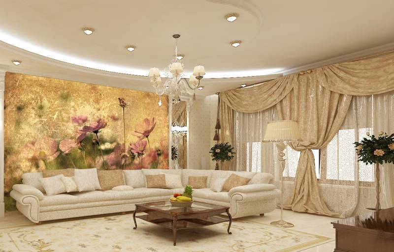 фотообои в гостиную цветы