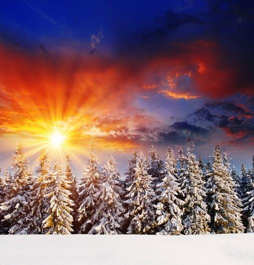Фотообои Зимнее солнце в горах (ID 3561)