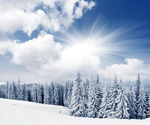 Фотообои Зимнее солнце в горах (ID 3568)