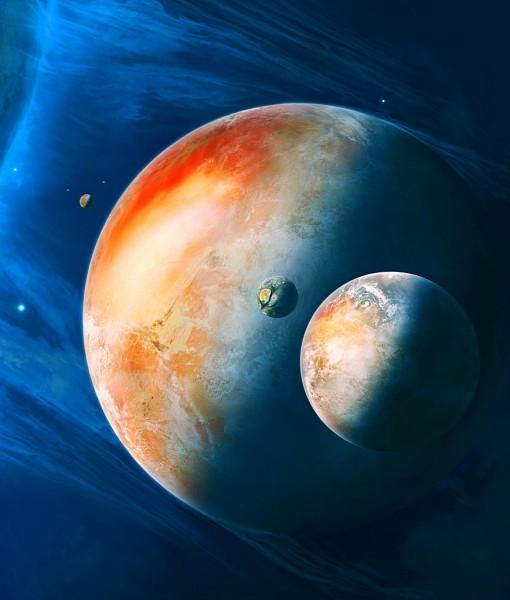 Фотообои Плаанета и ее спутник (ID 5707)