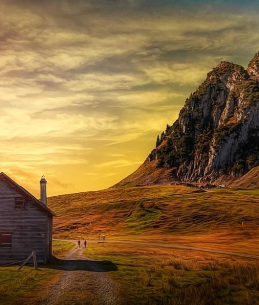 Фотообои Домик в горах (ID 7637)