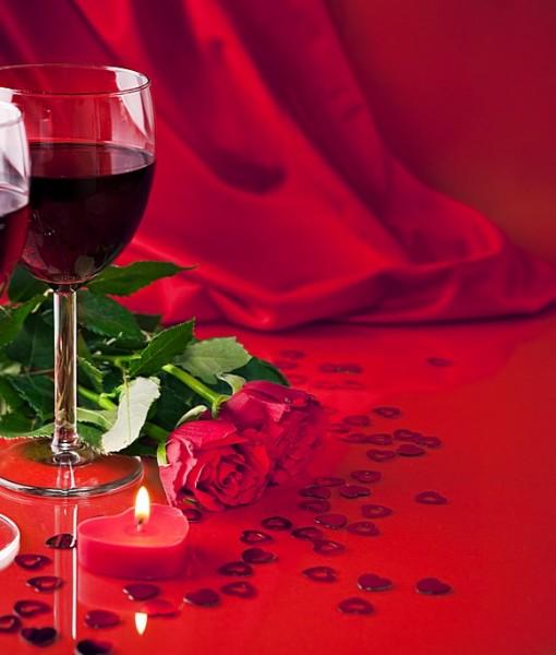 Фотообои Красное вино с розами (ID 13356)
