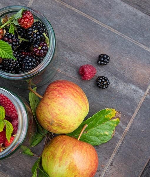 Фотообои Яблоки с ягоды в банках (ID 13741)