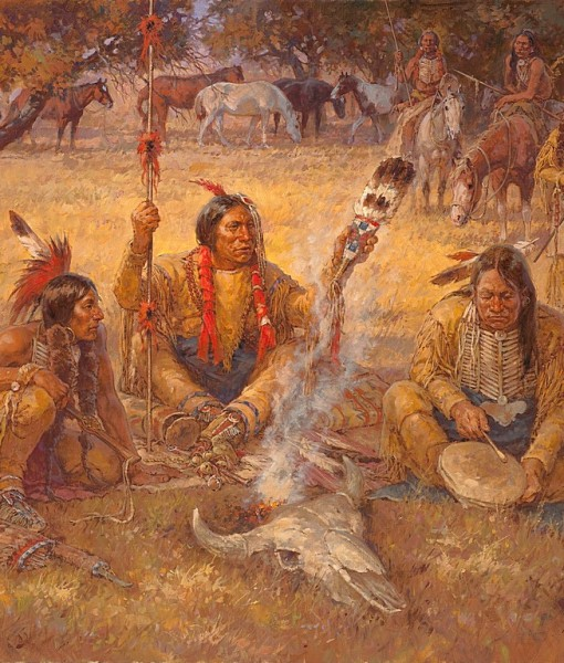 Фотообои Индейцы у костра (ID 15285)