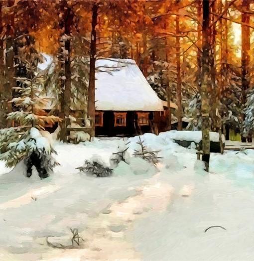Фотообои Дом в зимнем лесу (ID 15353)