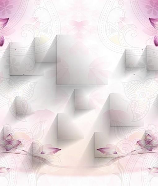 Геометрический фон с цветами (ID 16917)