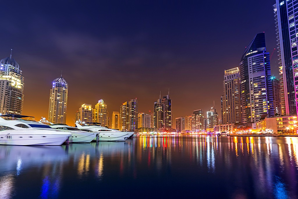 Cityscape of Dubai Marina at night, United Arab Emirates
