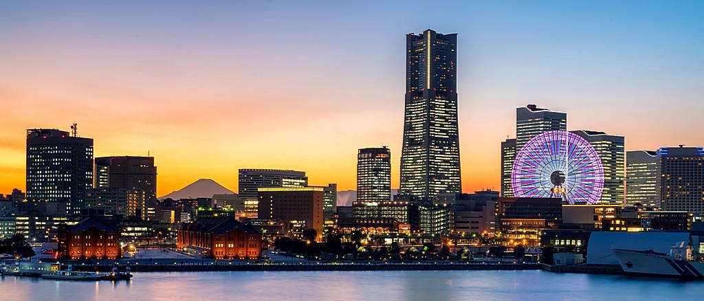 Yokohama Minato Mirai skyline bei Nacht