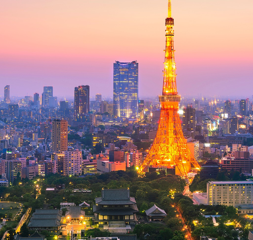 Aerial View of Tokyo City and Tokyo Tower