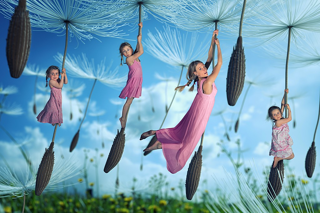 Flug mit den Löwnzahn Samen