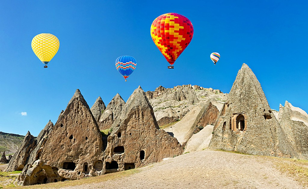 Colorful hot air balloons flying, Cappadocia, Turkey.