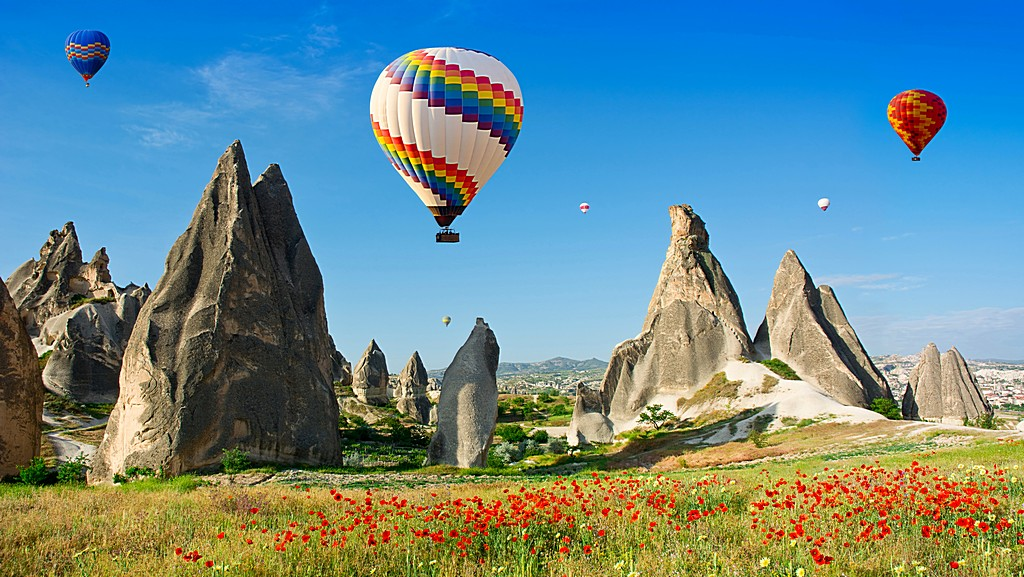 Hot air balloons flying over a field of poppies and rock landsca