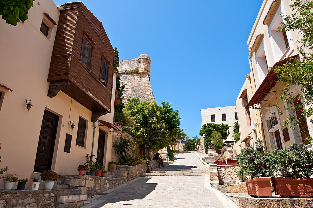 Old town in Rethymno city on the Crete island, Greece.