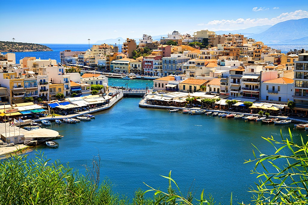 Agios Nikolaos and Voulismeni lake in Crete island, Greece.