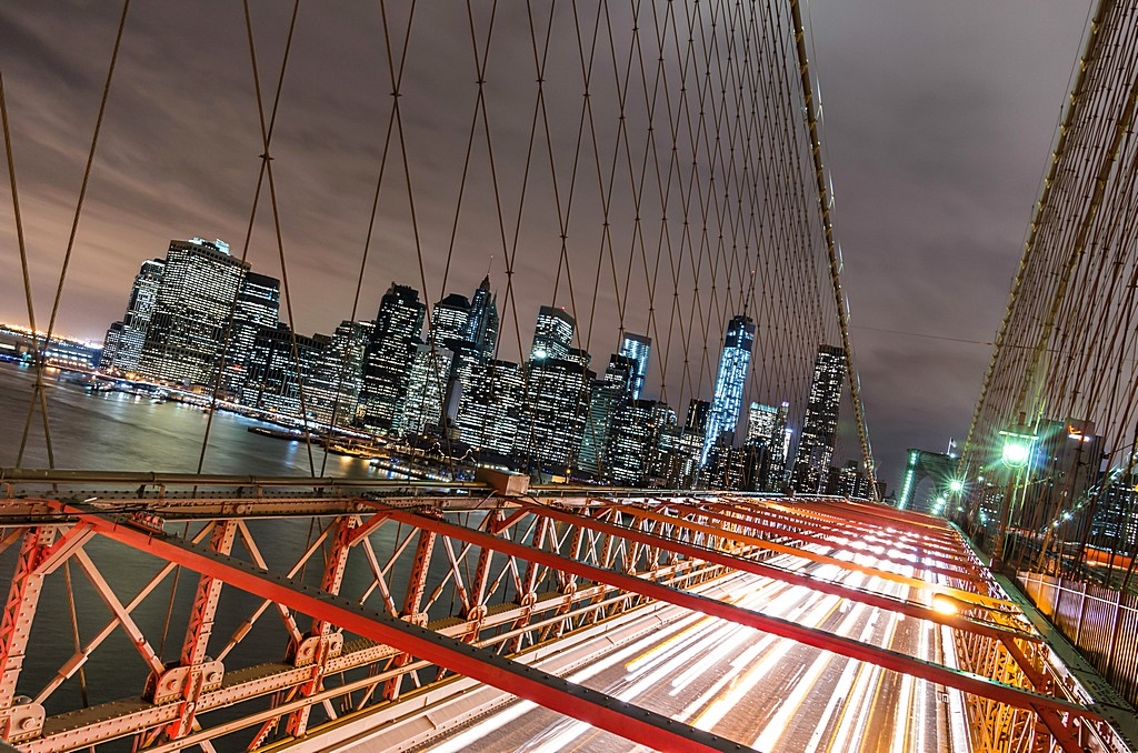 New York City - Manhattan Skyline from Brooklyn Bridge by Night