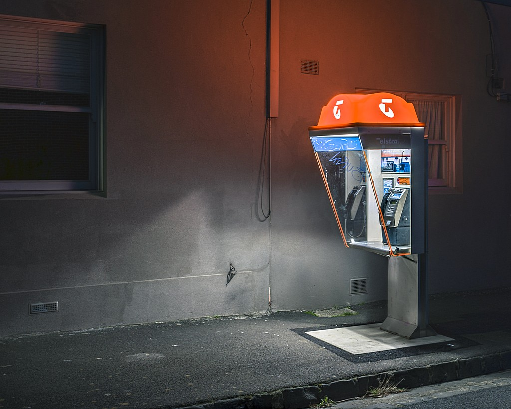 Australian Phone Booth at Night