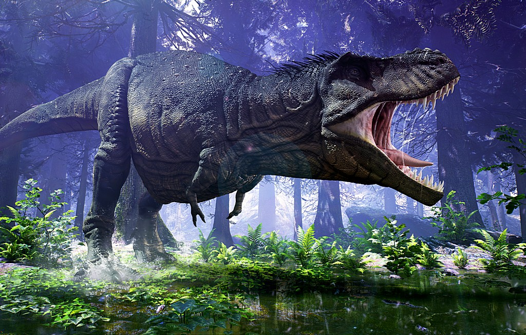3D rendering of Tyrannosaurus Rex stomping through the wetlands