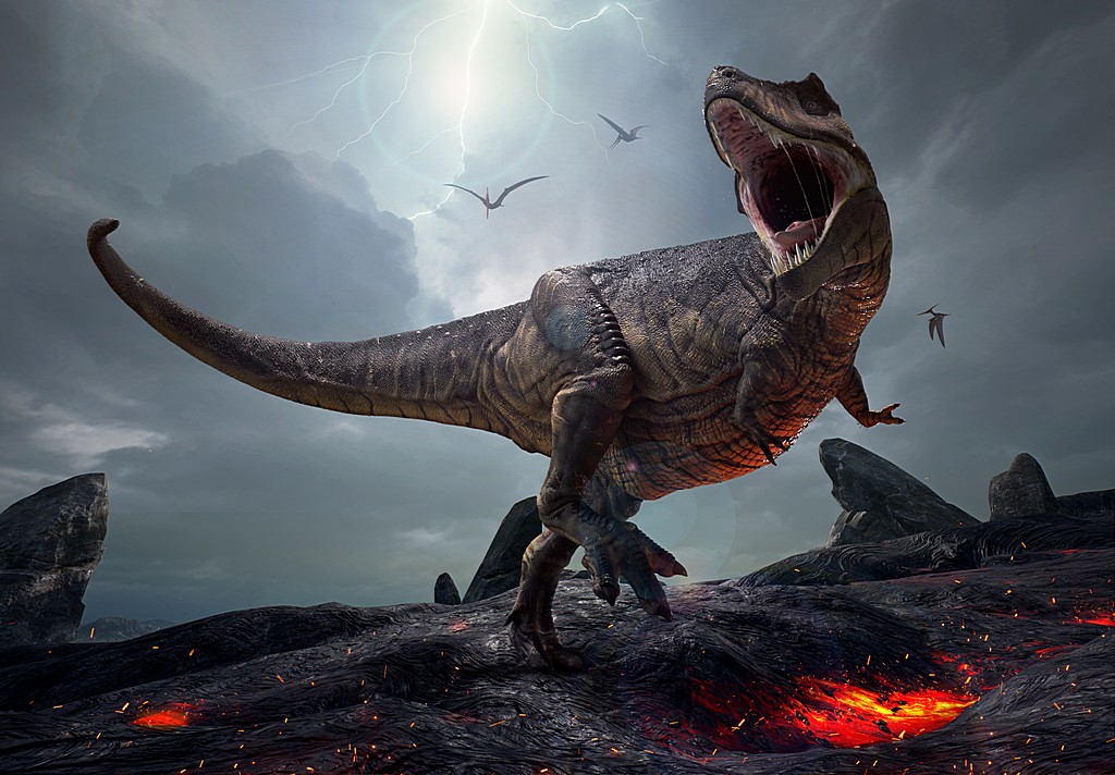 3D rendering of the king of dinosaurs, Tyrannosaurus Rex, in a h
